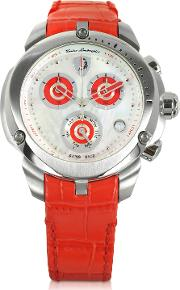 Shield Lady Silver Tone Stainless Steel And Red Croco Print Leather Chronograph Watch