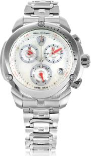 Shield Lady Silver Tone Stainless Steel Chronograph Watch