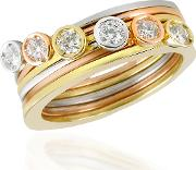 Torrini Rings, Bezel Set Diamond Three Tone 18k Gold Stackable Ring Set Of Six