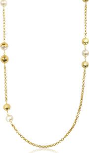 Capped Crystal Pearl Chain Rosary Necklace