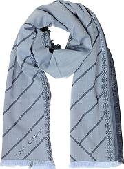 Diagonal Stripes And Signature Double T Logo Fringed Scarf