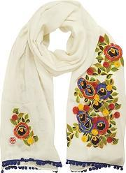 New Ivory And Multi Floral Avalon Embellished Oblong Wool Scarf Wpom-pom