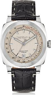 Stainlees Steel Wcroco Embossed Leather Strap Men's Watch