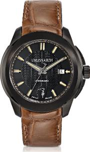 T01 Gent Black Stainless Steel Wbrown Croco Strap Men's Automatic Watch