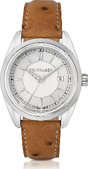 Trussardi Women's Watches, Lady Stainlees Steel Wostrich Leather Strap Women's Watch