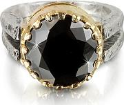 Black Cubic Zirconia Sterling Silver & Rose Gold Ring