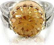 Gold Champagne Cubic Zirconia Sterling Silver & Rose Gold Ring