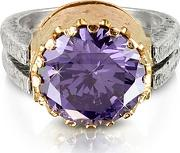 Purple Amethyst Cubic Zirconia Sterling Silver & Rose Gold Reversible Ring