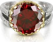 Red Cubic Zirconia Sterling Silver & Rose Gold Reversible Ring