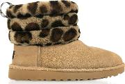 Leopard Fluff Mini Quilted Boots