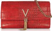 Audrey Croco Embossed Eco Leather Clutch