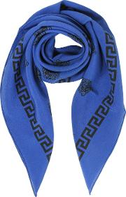 Bluette And Black Greek Medusa Print Silk Square Scarf