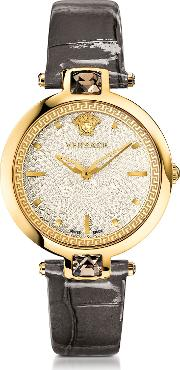 Versace Women's Watches, Crystal Gleam Grey Women's Watch Wwhite Guilloche Dial And Croco Embossed Band