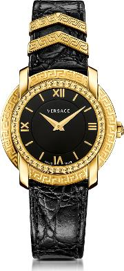 Dv25 Round Black And Gold Women's Watch Wcroco Embossed Band And Metal Inserts