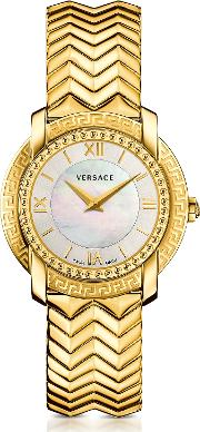 Dv25 Round Gold Women's Watch Wmother Of Pearl Dial
