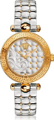 Micro Vanitas Stainless Steel And Pvd Gold Plated Women's Watch Wbaroque Pattern Dial