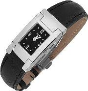 On Fifth Ladies' Black Leather Watch
