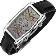Versace Women's Watches, Women's Gray Logoed Dial Leather Dual Time Watch