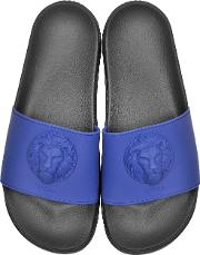 Lion Head Blue Rubber Slide Sandals