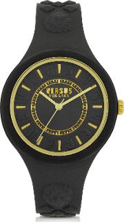 Fire Island Silicon And Gold Tone Stainless Steel Women's Watch