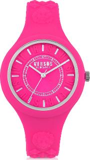 Fire Island Silicon And Silver Tone Stainless Steel Women's Watch