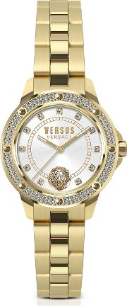 South Horizons Gold Tone Crystal Stainless Steel Women's Bracelet Watch Wwhite Dial