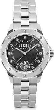 South Horizons Silver Stainless Steel Women's Bracelet Watch Wblack Dial And Crystals