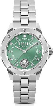 South Horizons Silver Stainless Steel Women's Bracelet Watch Wgreen Dial And Crystals