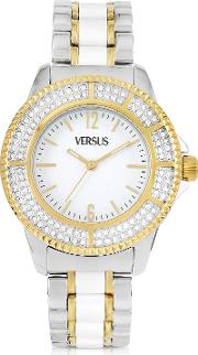 Versace Versus Women's Watches, Tokyo Crystal 38 White And Gold Stainless Steel Women's Watch