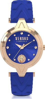 V Versus Rose Gold Tone Stainless Steel Women's Watch Wblue Leather Strap