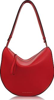 Cherry Red Leather Swing Bag