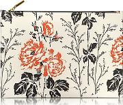 Floral Printed Leather Large Simple Pouch