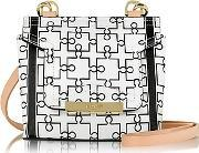 Mosaic 15 Orchid White & Black Puzzle Print Leather Micro Crossbody Bag