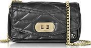 Black Quilted Leather Skinny Love Clutch