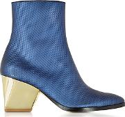 Addis Bluette Embossed Leather Bootie
