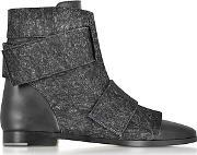 Joyce Black Leather And Wool Bootie