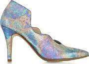 Multicolor Marlon Metallic Fabric And Leather Pump