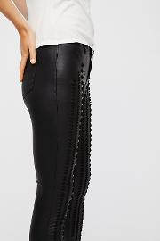 Vegan Leather Lattice Skinny Pants By  At Free People