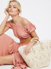 Sundrenched Straw Tote By