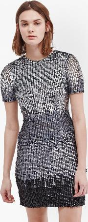 Sunbeamer Fitted Sequin Dress Blackwhite Ombre