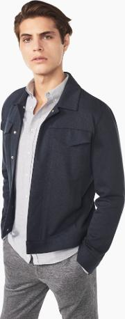 Double Faced Jersey Denim Jacket Marine