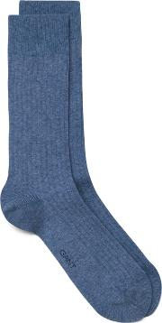 Indigo Rib Socks Denim Blue Mel