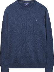 Lightweight Cotton Crewneck Jumper Denim Blue Mel