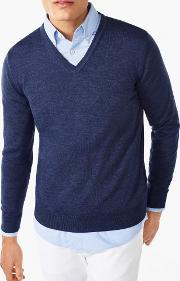 Merino Wool V Neck Jumper Denim Blue Mel