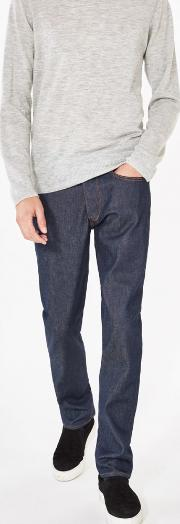 Slim Fit Jeans Dark Blue Raw