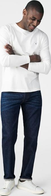 Slim Fit Neps Denim Jeans Dark Blue Worn In