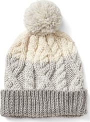 Cable Knit Pom Beanie Neutral Colorblock