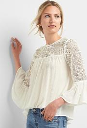 Lace Bell Sleeve Top New Off White