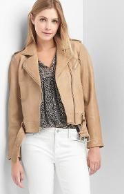 Leather Belted Moto Jacket Khaki
