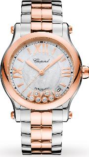 Happy Sport 36mm Automatic 18ct Rose Gold Stainle ...